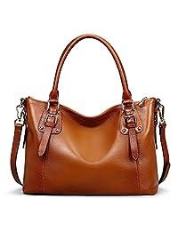 S-ZONE Women's Vintage Large Genuine Leather Tote Shoulder Handbags Ladies Top-handle Purse Cross Body Bag (Brown)