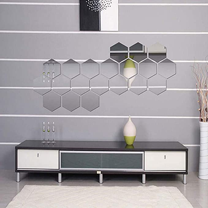 BrawljRORty Wall Stickers Decor Art Decorations 12Pcs Mirror Hexagon Removable Acrylic Wall Stickers Art DIY Home Decor Decals for Home Living Room Bedroom Decor Silver 807040mm
