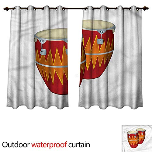 cobeDecor Music 0utdoor Curtains for Patio Waterproof African Cuban Congas Funky W96 x L72(245cm x 183cm)