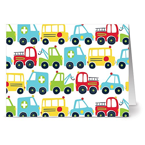 Traffic Jam White - 36 Note Cards - Blank Cards - Red Envelopes Included