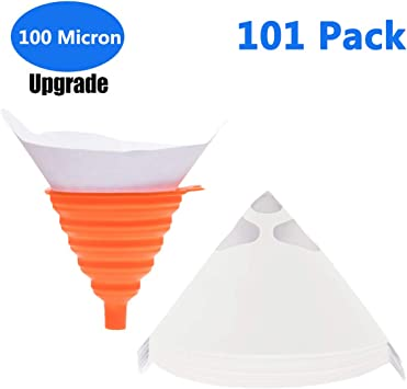 Jeteven 150 Pcs Disposable Paint Paper Strainers with 1Pcs Silicone Filter Update Version