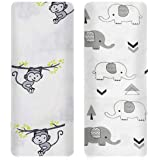 Mom's Home Organic Cotton Baby Muslin Cloth Swaddle - 0-12 Months - 100x100 cm - Pack of 2 - Monkey & Grey Elephant
