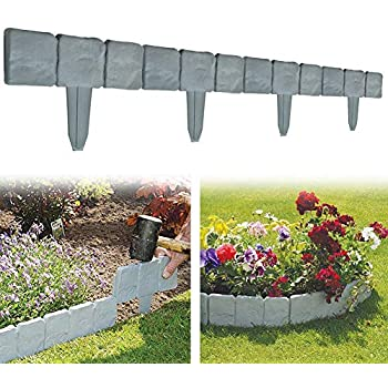 10Pack Grey Stone Effect Plastic Palisade Fence Lawn Edging DIY ...