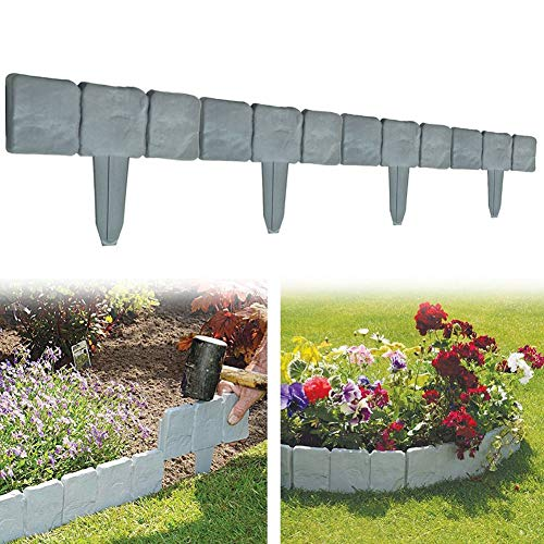 Garden Plastic Fence Edging - 10 or 20 pcs Cobbled Stone Effect Lawn Edging Plant Border Palisade Trellis - DIY Decorative Flower Grass Bed Border for Landscaping Walkways (Gray 20 pcs)