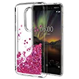 Nokia 6 2018 Case, Nokia 6.1 Case, SKTGSLAMY Liquid Glitter Sparkle Girl Women Cute Clear TPU+Shockproof Hard PC Protective Case for Nokia 6 2018 smartphone (Rose Gold)