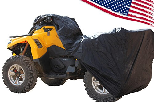 (Rhino 4 wheeler ATV Cover - WATERPROOF, WINDPROOF 190T TAPED seams with WIND STRAPS. See list of Quads for sizing in description. Works as LAWNMOWER cover, too. Size LARGE)