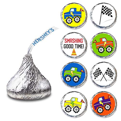 Monster Truck Label for HERSHEY'S KISSES® chocolates - Birthday Party Candy Stickers - Set of 240 Competition Monster Truck Engine