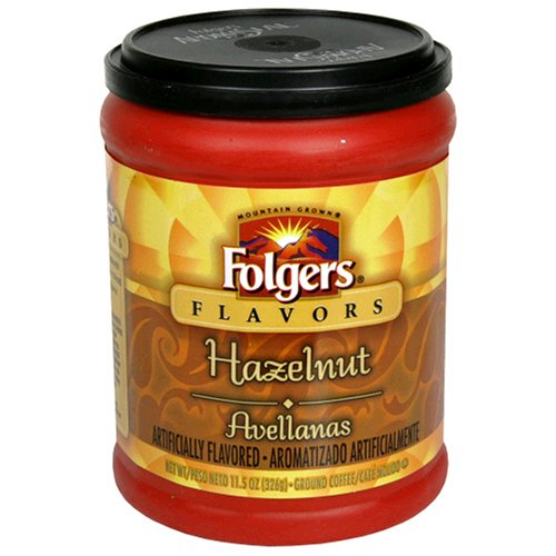 Folgers Flavors Hazelnut Ground Coffee, 11.5-Ounce Tubs (Pack of 6)