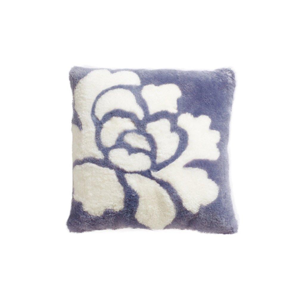 WAN SAN QIAN- Back Cushion Australian Wool Sofa Cushions Chinese Style Large Pillow Sheep Shear Pillow Bedside Back Peony Cushion - White 50cm 50cm Back Cushion ( Color : Purple ) by Back Cushion