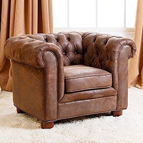 Abbyson Living RJ Kids Mini Fabric Chesterfield Club Chair In Brown