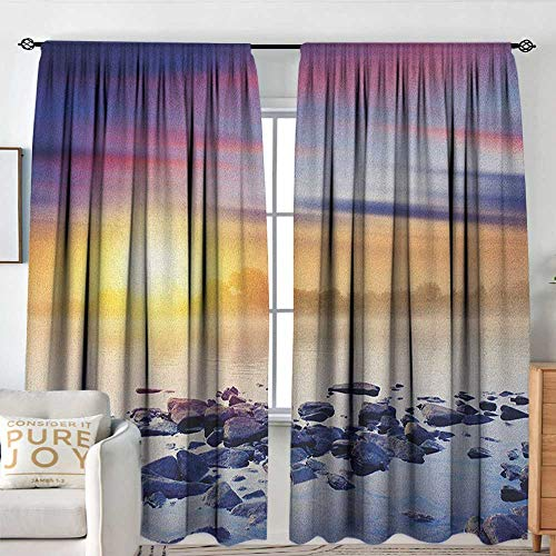 Print Pattern Curtains Landscape,Magic Summer Sunset in The River with Aurora Borealis in The Sky Rocks Universe, Multicolor,for Room Darkening Panels for Living Room, Bedroom 60