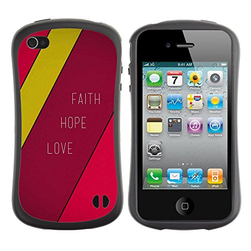 DREAMCASE Citation de Bible Silicone et Rigide Coque Protection Image Etui solide Housse T¨¦l¨¦phone Case Pour APPLE IPHONE 4 / 4S - FAITH HOPE LOVE