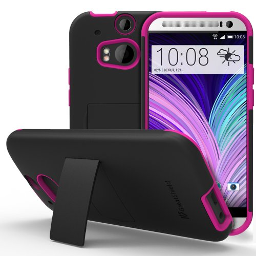HTC One M8 Stand Case, GreatShield Legacy Series Ultra Slim Fit Hybrid Snap On Case Back Cover with Kickstand for HTC One M8 (2014) -Black & Hot Pink