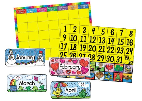 Carson Dellosa Calendar Set: Kid-Drawn Bulletin Board Set (3270) - Kid Drawn Classroom