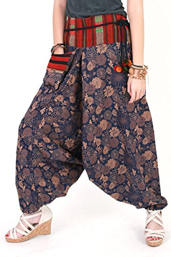 [Hmong Harem Pants Unisex Baggy Genie Men Fisherman/aladdin/ninja Pants Trouser Yoga Boho Gypsy Hippie Indian Women Loose Pants Plus Size Brick Blue and Light] (Awesome 3 Person Halloween Costumes)