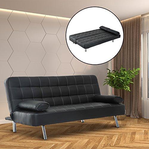 Homcom elegante divano letto in ecopelle con 2 cuscini 180 x 94 x 88cm nero shop online divani - Divano letto elegante ...