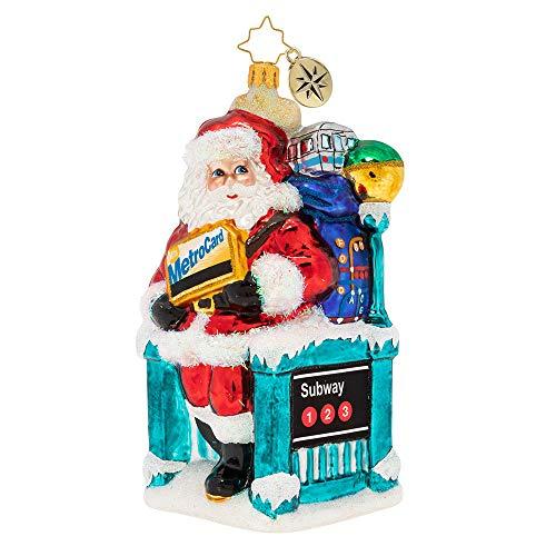 Christopher Radko MTA Santa's NY Travels Christmas Ornament, Multicolor