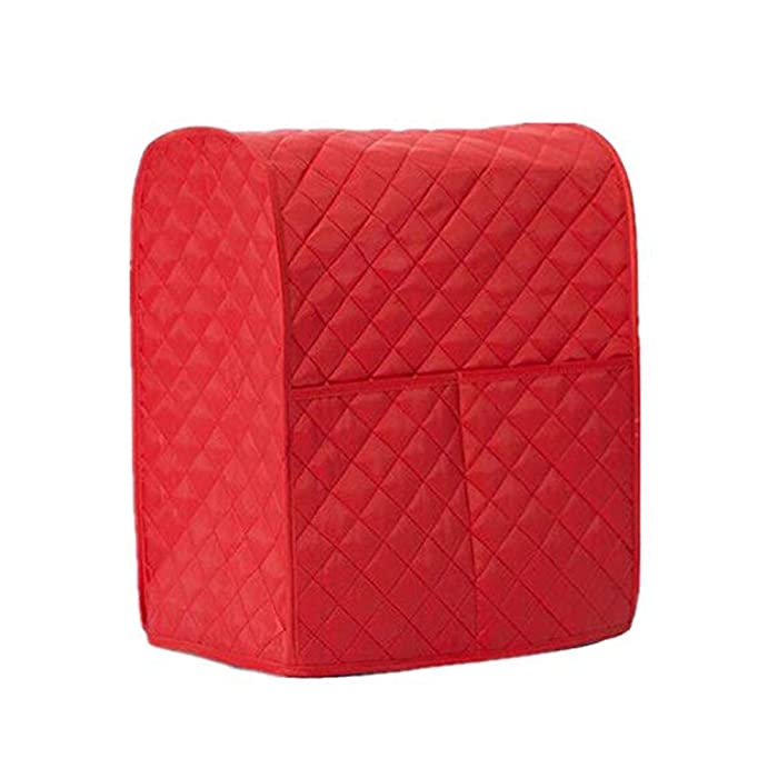 Giveme5 Kitchen Aid Mixer Cover, Leather Stand Mixer Cover Dust-Proof Cover Lattice Pattern Thicken Protector Cover Organizer Bag for Kitchen Mixer QT4.5 QT5 QT6 (Red)
