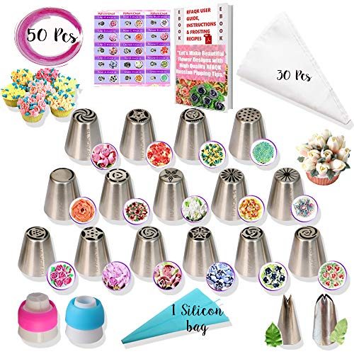 RFAQK - 50 Pcs Russian Piping Tips Set- 15 Numbered, Easy to Use Icing Nozzles - 2 Leaf Tips - 2 Couplers -30 Icing Bags -1 Pastry Bag- Pattern Chart,E.Book User Guide, cupcake decorating Kit supplies