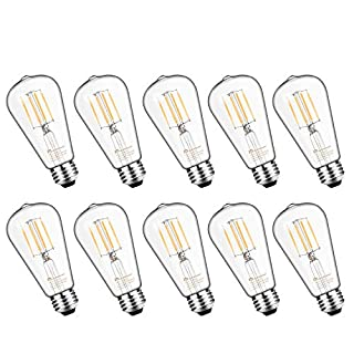 Mastery Mart Vintage LED Light Bulb, Glass ST21 Antique Edison Style, Dimmable 5.5W (60 Watt Equivalent), 500LM 4000K Cool White, E26 Decorative Filament Bulb, UL and Energy Star, 10 Pack