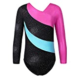 TFJH E Sparkle Leotard for Girls Gymnastics Kids Athletic Dancing Clothes,138 Black 140