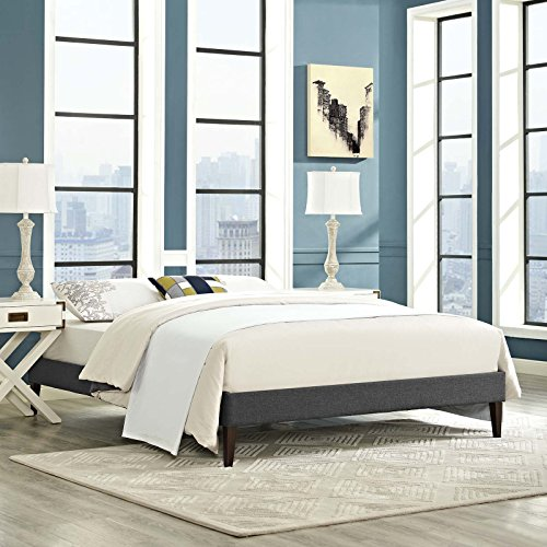 Modway MOD-5899-GRY Fabric Bed Frame with Squared Tapered Legs, Queen, Gray (Floor Slatted)