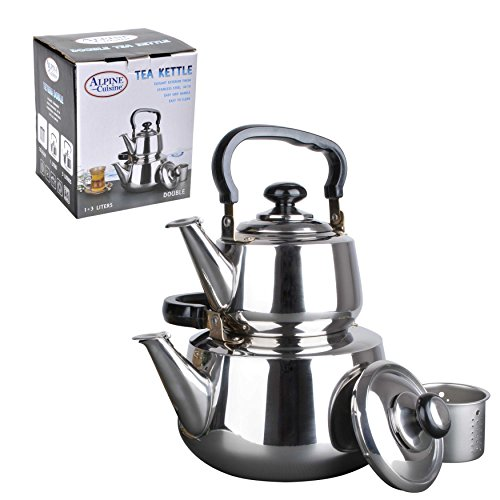 (Aramco WLA037 Double Tea Kettle, 1.2/3L, Stainless Steel)