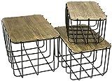 Sagebrook Home 10945 S/3 Metal Storage Baskets With Lids, 19.5'' x 13.5'' x 12.25''