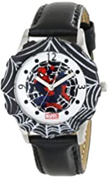 Marvel Kids' W000317 Marvel Tween Spider-Man Stainless Steel Black Bezel Black Leather Strap Watch