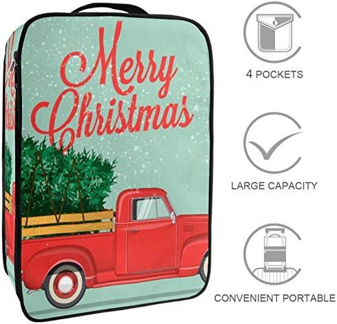 MYSTAGE シューズバッグ 靴箱 シューズケース シューズ袋 旅行収納ポーチ 二層式 靴入れ 小物収納 収納ケース アウドドア 出張 旅行 クリスマス ピックアップトラック ポスター
