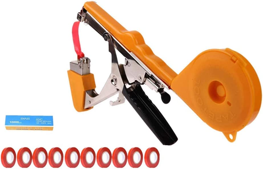 BERNIE ANSEL Machine Agriculture Tool Garden Hand Vine Tying Plant Tapetool Tapener with Tapes, Staples Yellow
