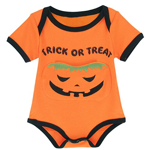 Mombebe Baby Halloween Pumpkin Costome Bodysuit with Pocket (3-6 Months, Pumpkin)