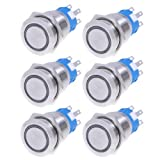 6pcs 19mm 12v *Blue* Led Stainless Switch 5 Pins Latching Push Button Waterproof