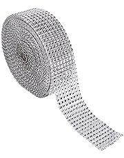 Rollo de Cinta de malla de diamantes para manualidades 8 Filas 10 Yardas Diamante Wrap Roll Sparkling Cinta de Cristal de acrílico Rhinestone Cinta para Pasteles de Boda Artes DIY Decoracion(Plata)