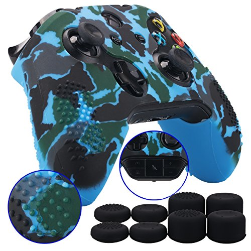 - 9CDeer Studded Protective Customize Transfer Printing Silicone Cover Skin Sleeve Case + 8 Thumb Grips Analog Caps for Xbox One/S/X Controller Camouflage blue Compatible with Official Stereo Headset