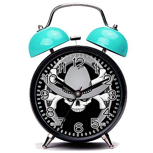 GIRLSIGHT3 Blue Alarm Clock,Skull Cowboy Skull Horseshoe Loud Alarm Clock Twin Bell Alarm Clocks with Nightlight