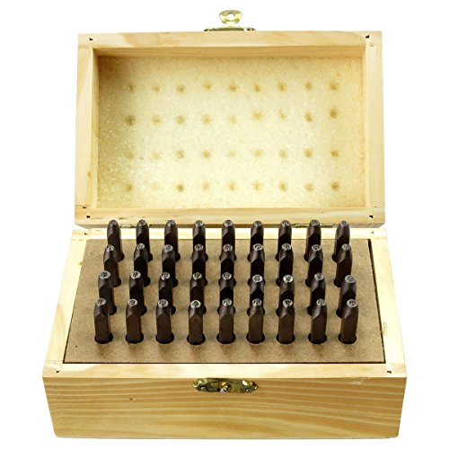 Hawk TZ9093W 36Pc 1.5mm Number & Letter Punch Set in Wooden Box
