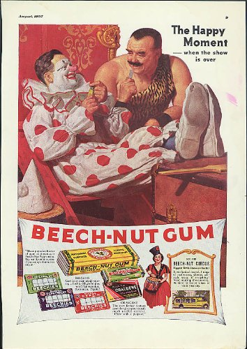 The Happy Moment Beech-Nut Chewing Gum ad 1937 Circus clown & strongman