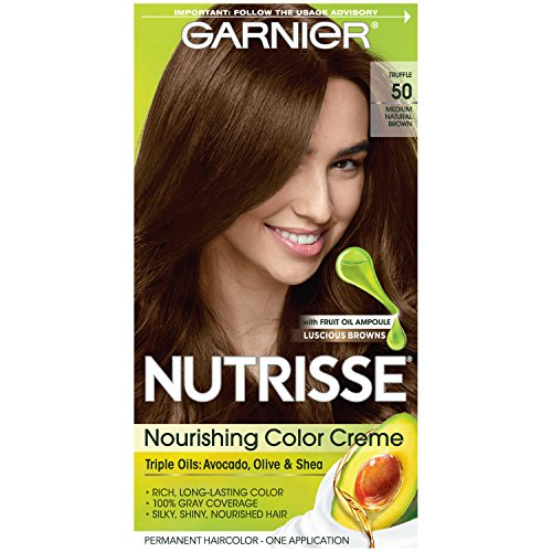 (Garnier Nutrisse Nourishing Hair Color Creme, 50 Medium Natural Brown (Truffle)  (Packaging May Vary))