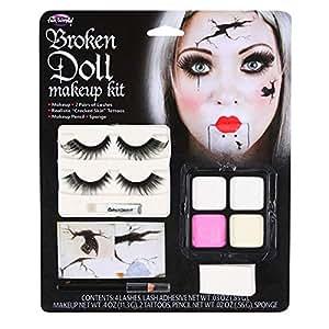 Broken Doll Halloween Makeup Kit With Eyelashes Tattoos, Paint, Sponge & Pencil