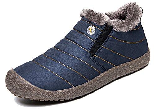 Eagsouni® Herren Damen Schneestiefel Stiefeletten Stiefel Warm Gefütterte Kurz Winterstiefel Outdoor Slip on Knöchelhoch Winter Boots Low-Top,Blau