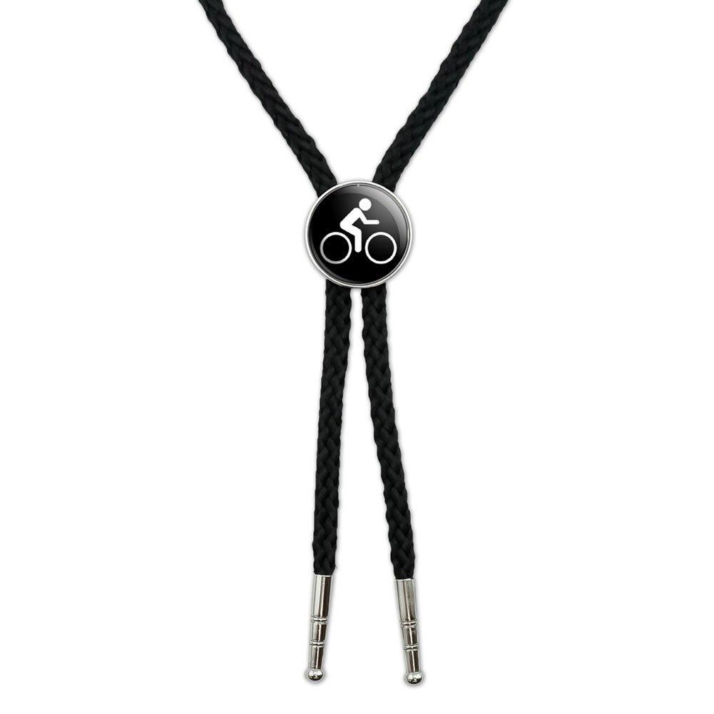 Biking Cycling Symbol Western Southwest Cowboy Necktie Bow Bolo Tie