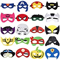 Kids Party Cosplay Masks Felt Party Masks 20 Pieces Multiple Sizes Adjustable Elastic Band for Birthday Halloween Party Supplies toDecoration