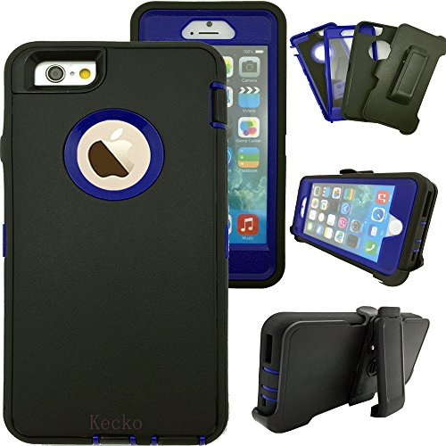 iphone 6s Plus Case,Kecko® Shockproof High Impact Tough Rubber Rugged Hybrid  Case Cover Skin w/ Built-in Screen Protector&Belt Clips for iphone 6 Plus/6S Plus-Rose/Black/Blue (B/N)