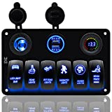 FXC Boat Rocker Switch Panel Voltmeter 12V Cigarette Socket Double USB Power Charger Adapter Flush Mount Waterproof 6 Gang Switches Panel Black for RV Car Marine¡