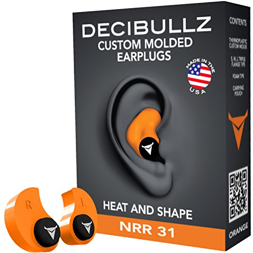 Decibullz - Custom Molded Earplugs 31dB Highest NRR. Comfortable Hearing Protection for Shooting, Travel, Swimming, Work and Concerts ()