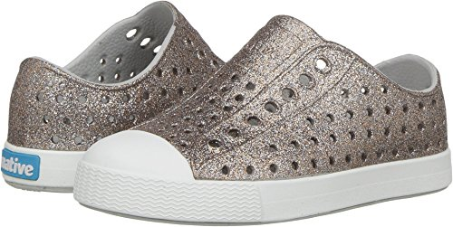 (Native Kids Shoes Baby Girl's Jefferson Bling Glitter (Toddler/Little Kid) Metal Bling/Shell White 12 M US Little Kid)