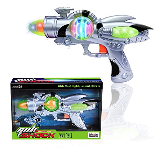 Retro Space Gun (Liberty Imports Galactic Space Infinity Blaster Pistol Toy Gun for Kids with Flashing Lights and Blasting FX)