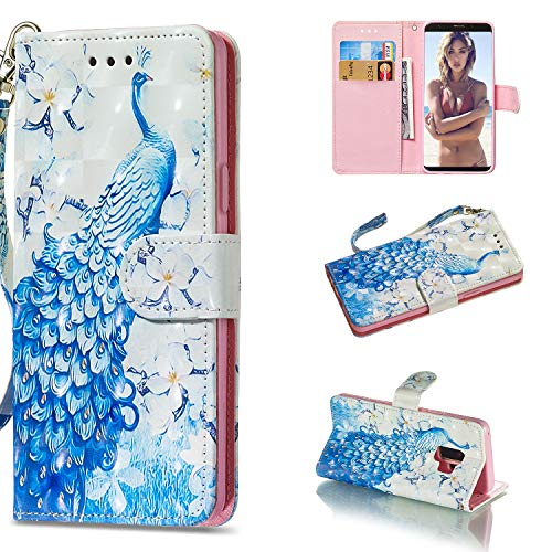 Amocase Wallet Case with 2 in 1 Stylus for Samsung Galaxy S9 Plus,Luxury 3D Peacock Flowe Art Printed Scratch Resistant Magnetic Kickstand Full Body Soft Silicone Strap PU Leather Case