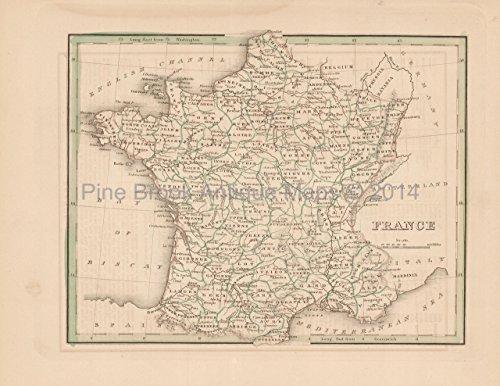 Antique Map France Bradford 1835 Original French Decor History Gift - Antique Map 1835